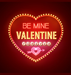 Neon sign valentines day typography background vector