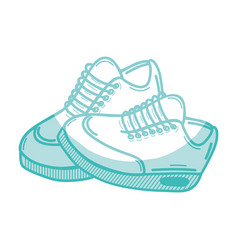 Silhouette comfortable sneakers fitness vector