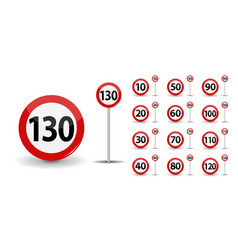 Round red road sign speed limit 10-130 kilometers vector
