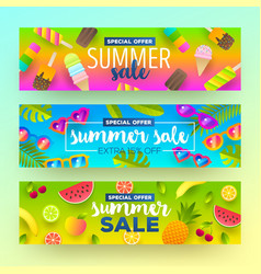 Set of summer sale banners vector