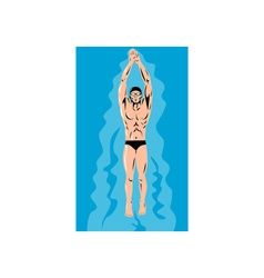 Swimmer streamline retro vector