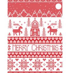 Nordic style christmas wonderland pattern vector