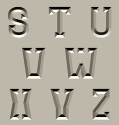Stone carved alphabet font - part 3 vector
