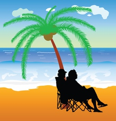 Couple sitting under palm on the beach vector