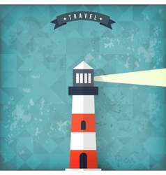 Flat lighthouse on old vintage background vector
