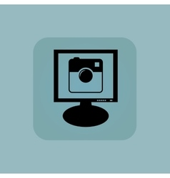 Pale blue square camera monitor vector