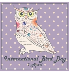 Bird day with owl vintage vector
