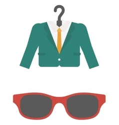 Suit on hanger and sunglasses vector