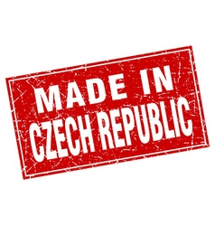Czech republic red square grunge made in stamp vector