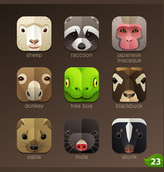 animal faces for app icons-set 23 vector image vector image