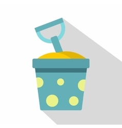 Blue bucket of sand and shovel icon flat style vector