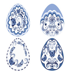 blue floral easter eggs vector image vector image