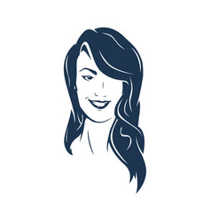 Brunette hair woman face vector