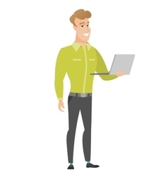 Business man using laptop vector
