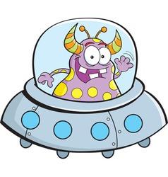Cartoon alien in a spaceship vector