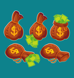 collection of cartoon bags with banknotes vector image vector image