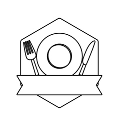Figure table with plate fork and knife vector