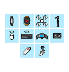 flat color technology icon set vector image