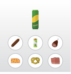 Flat icon food set of packet beverage cheddar vector
