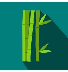 Green bamboo stems icon flat style vector image