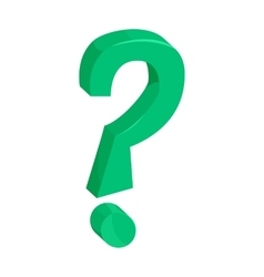 Green question mark icon cartoon style vector image