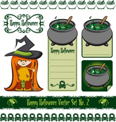 halloween witch set vector image vector image
