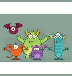 Happy funny monsters cartoon characters vector