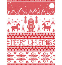 Nordic style christmas wonderland pattern vector