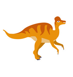 Orange duckbill dinosaur of jurassic period vector