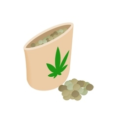 Paper bag of medical marijuana pills icon vector