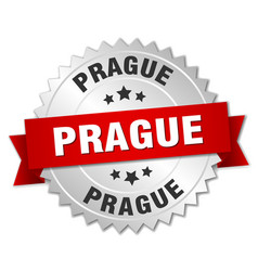 Prague round silver badge with red ribbon vector