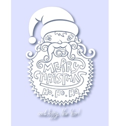santa claus head merry christmas happy new year vector image