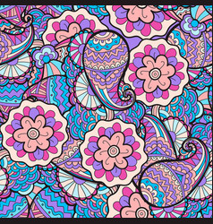 Seamless abstract floral pattern fabric vector