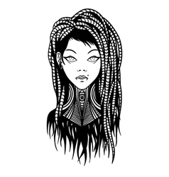 Subcultural girl with dreadlocks and piercing vector image vector image