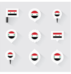 Syria flag and pins for infographic and map design vector