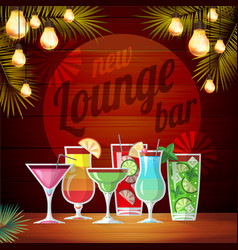 Vintage poster lounge club flat cocktail menu vector