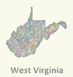 West Virginia line art map vector image vector image