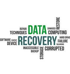 word cloud data recovery vector image vector image