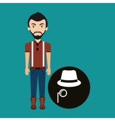 young hipster man fedora hat and mustache vector image