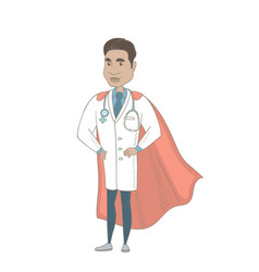 Young hispanic doctor dressed as a superhero vector