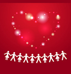 Paper crowd with heart on background vector image