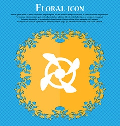 Fan Icon sign Floral flat design on a blue vector image
