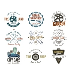 Vintage car service badges garage repair labels vector