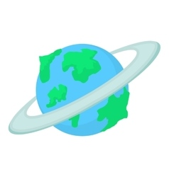 Earth planet icon cartoon style vector
