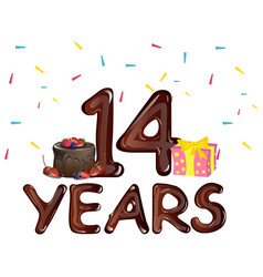 14 years anniversary celebration with cake vector