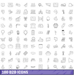 100 b2b icons set outline style vector