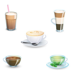 Set of delicious hot drinks coffee tea vector