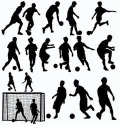Futsal players silhouettes vector