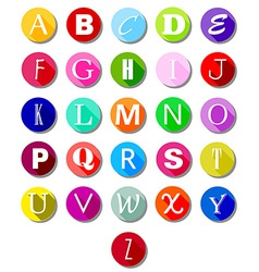 Alphabet on multicolor circles -flat vector