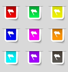 Finish start flag icon sign set of multicolored vector